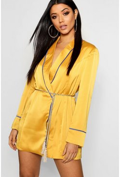 Womens Mustard Satin Piping Detail Belted Blazer Dress