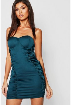 Womens Teal Satin Ruched Bandeau Bodycon Dress