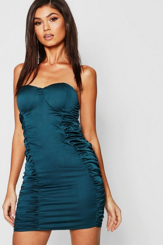 Womens Satin Ruched Bandeau Bodycon Dress