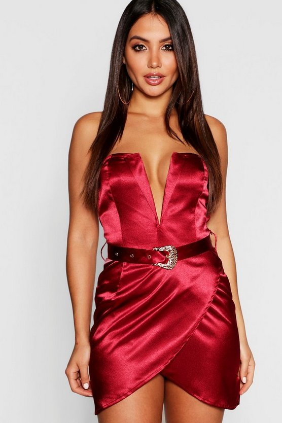 Berry Satin Belted Plunge Bodycon Dress