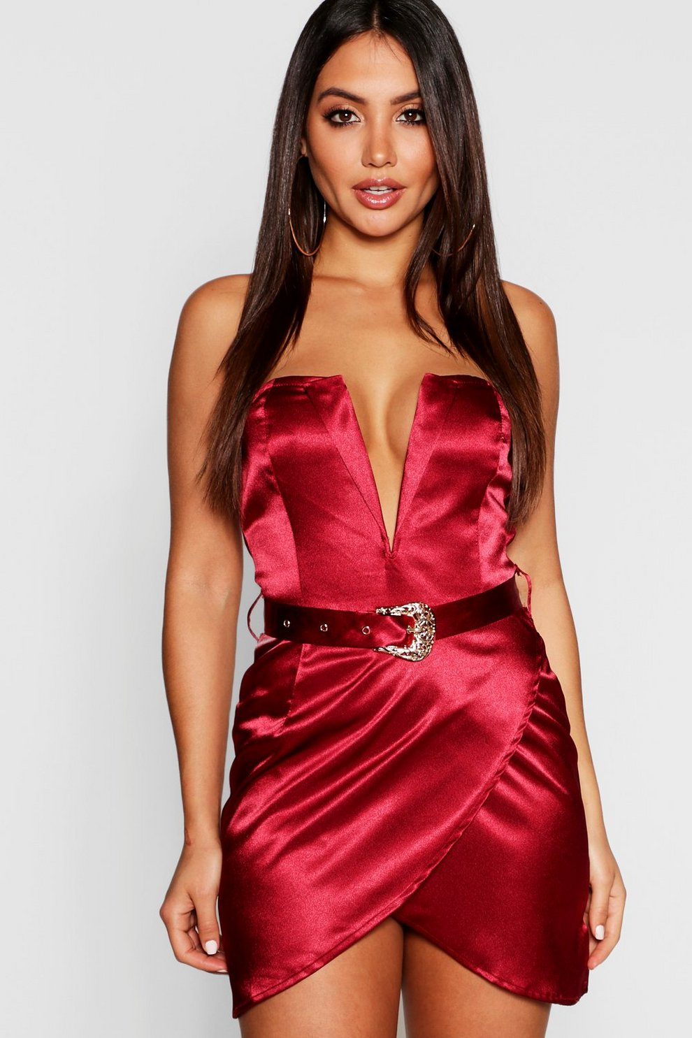 029a4488704 Satin Belted Plunge Bodycon Dress