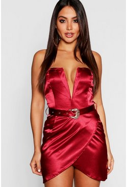 Womens Berry Satin Belted Plunge Bodycon Dress