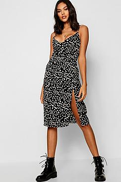 Animal Print Wrap Midi Dress