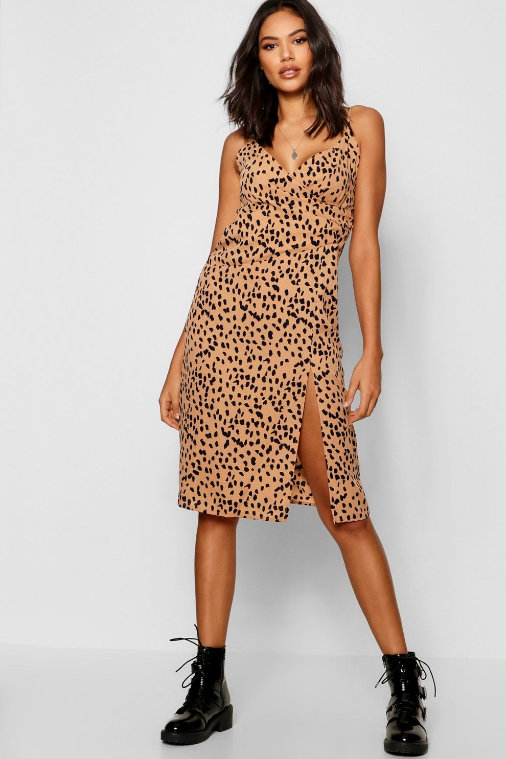 750fae56c3175 Animal Print Wrap Midi Dress