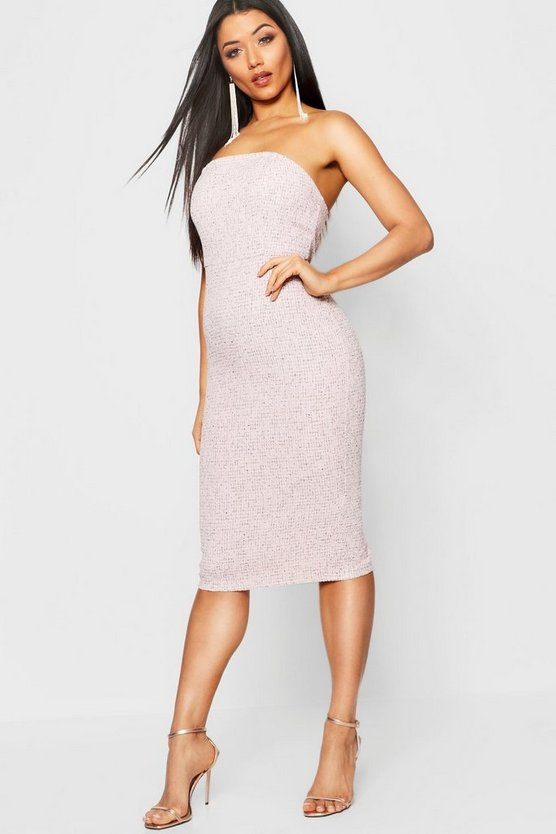 Jacquard Bandeau Midi Dress