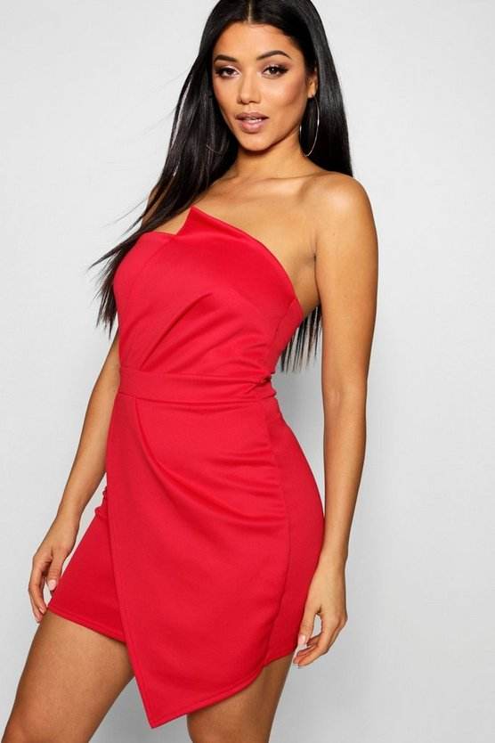Bandeau Wrap Detail Bodycon Dress