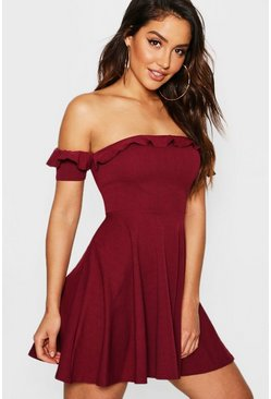 Womens Berry Off The Shoulder Frill Skater Dress