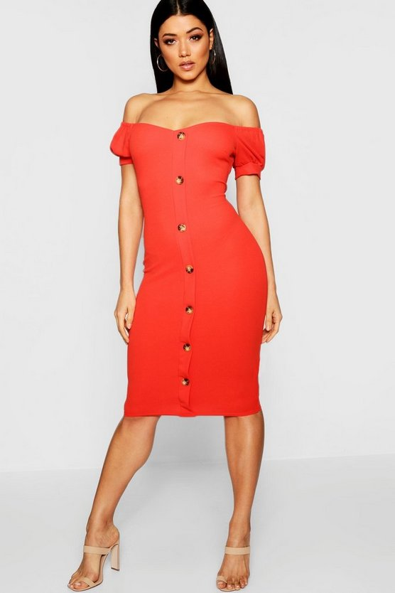 Button Off The Shoulder Midi Dress