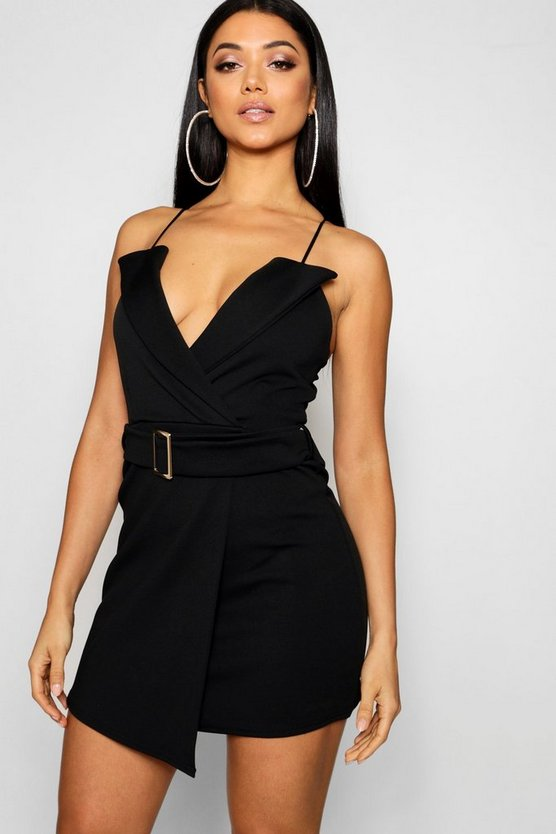 Womens Strappy Tux Belted Wrap Mini Dress