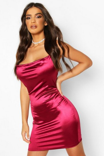Berry Satin Cowl Front Bodycon Dress