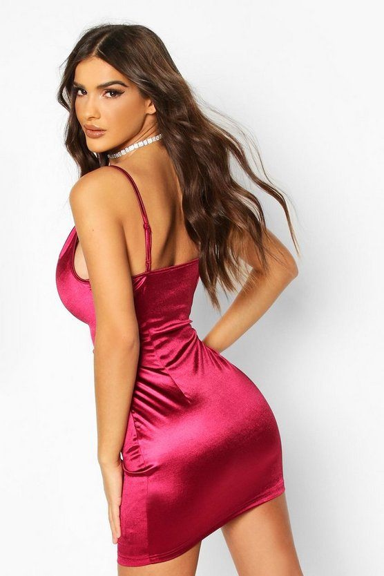 Satin Cowl Front Bodycon Dress