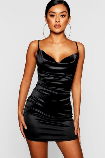 Womens Black Satin Cowl Front Bodycon Dress