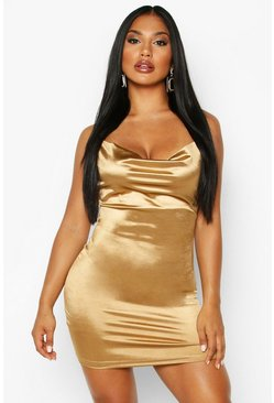 Bronze Satin Cowl Front Bodycon Dress