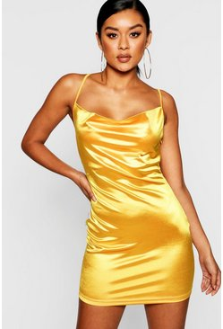 Womens Mustard Satin Cowl Front Bodycon Dress