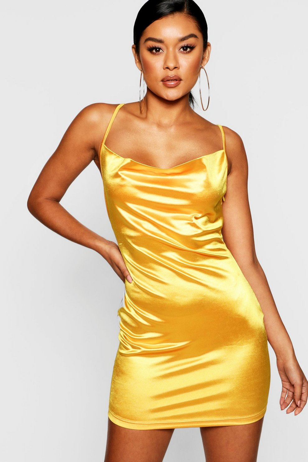 a5c779792b25 Womens Mustard Satin Cowl Front Bodycon Dress. Hover to zoom