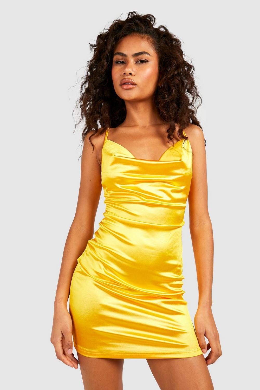 Boohoo Womens Satin Cowl Front Bodycon Dress Ebay