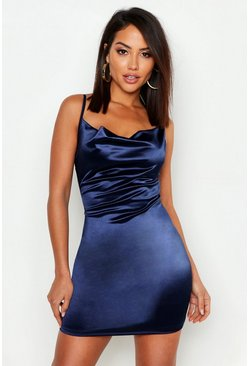 Womens Navy Satin Cowl Front Bodycon Dress