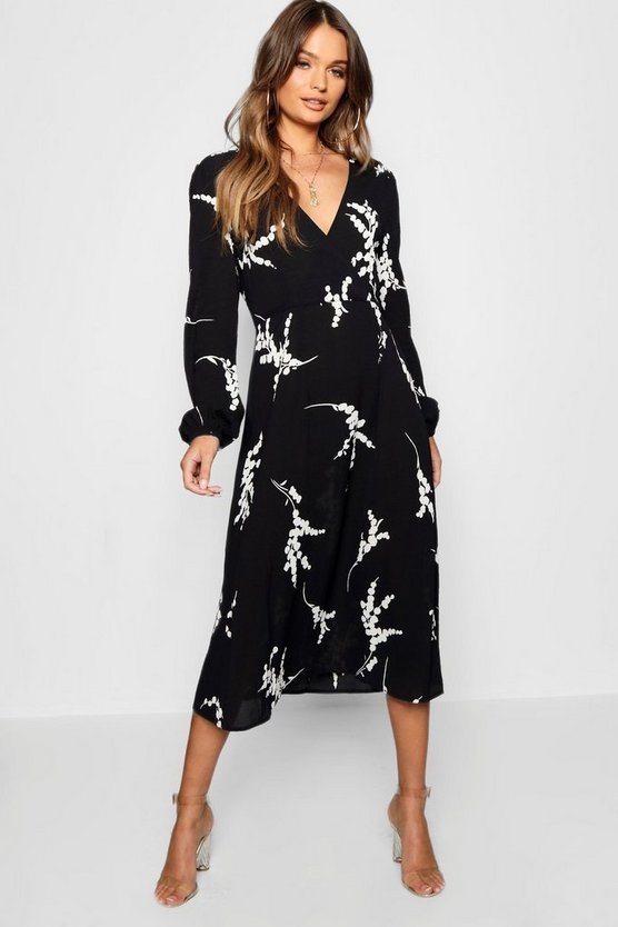 Printed Long Sleeve Wrap Midi Dress