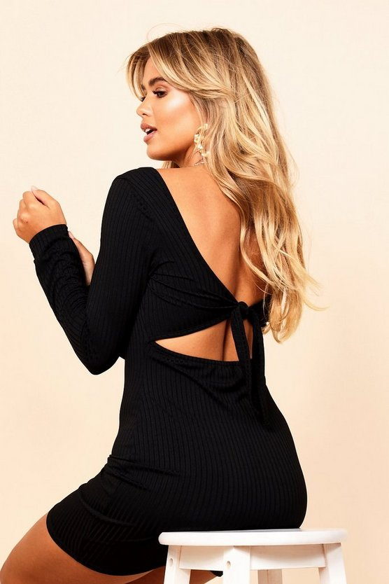 Jumbo Rib Square Neck Tie Back Mini Dress