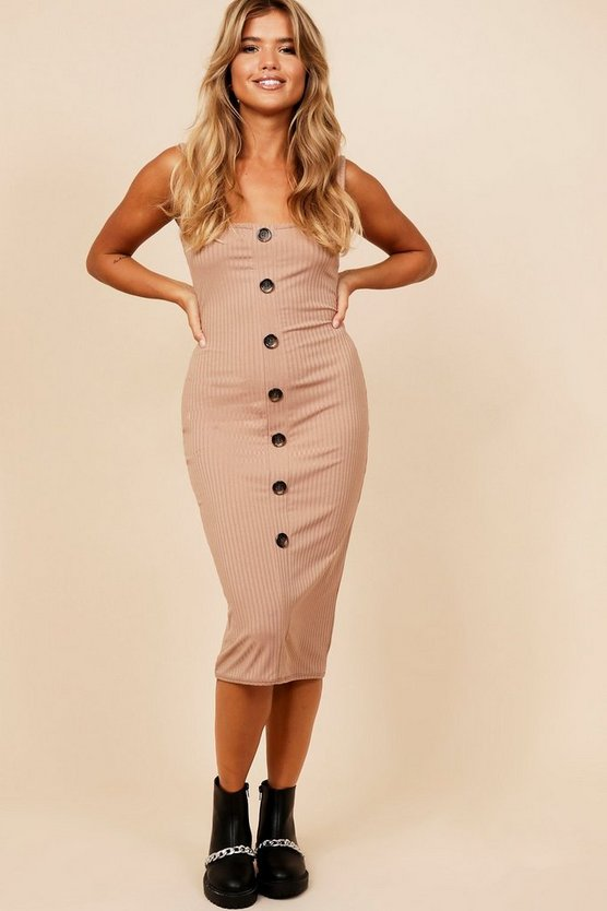 Womens Camel Jumbo Rib Mock Horn Detail Bodycon Midi Dress
