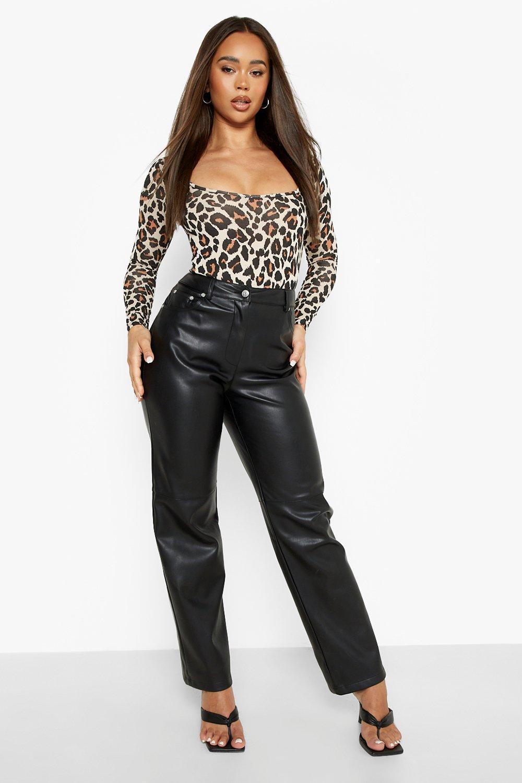 Neck Bodysuit Sleeve Leopard Long Halloween brown Square znEw0