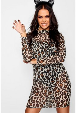 Brown Halloween Leopard Mesh Bodysuit Midi Dress