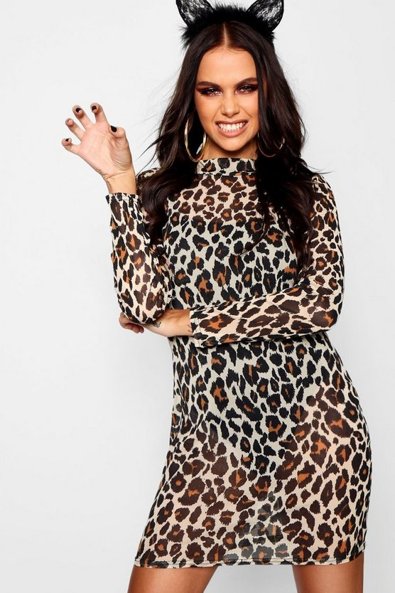 Halloween Leopard Mesh Bodysuit Midi Dress