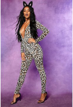 Womens Brown Halloween Leopard Plunge Long Sleeve Jumpsuit