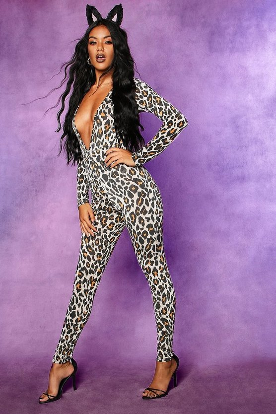 Halloween Leopard Plunge Long Sleeve Jumpsuit