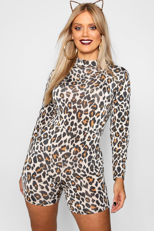 Playsuit Neck brown Sleeve Leopard High Halloween Long 0qwEBXC7x