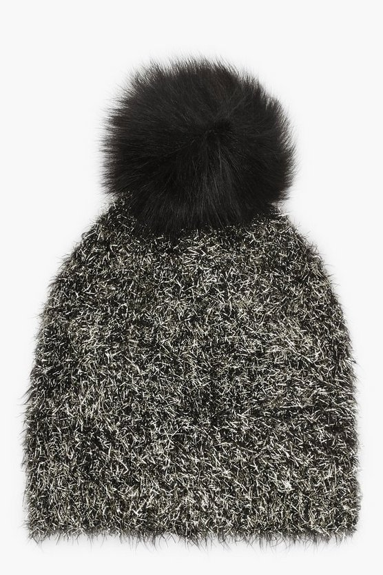 Womens Black Gold Dust Faux Fur Pom Beanie