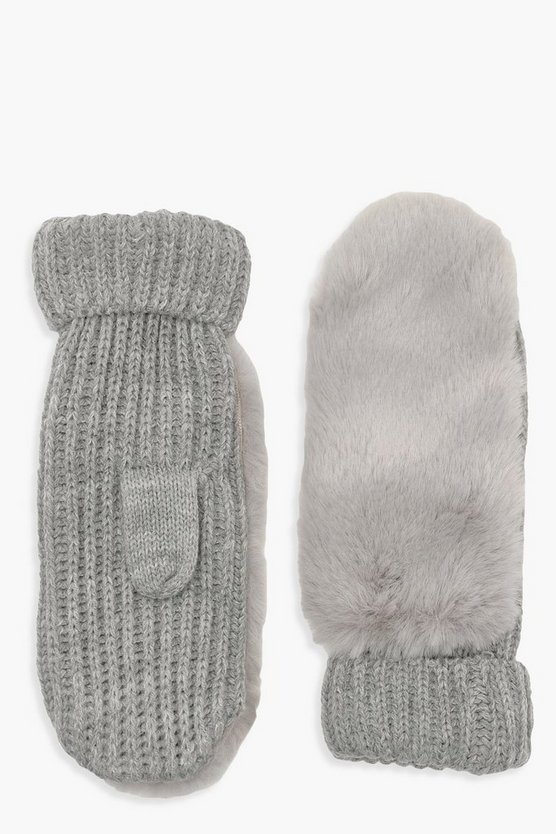 Womens Grey Faux Fur Knitted Mittens