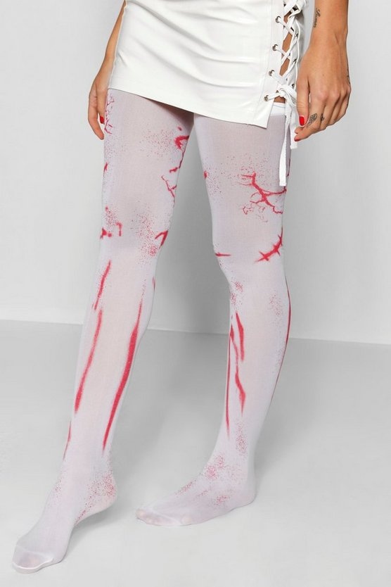 Womens White Halloween Blood Stain Stockings