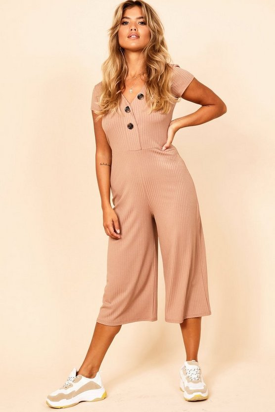 Jumbo Rib Mock Horn Button Culotte Jumpsuit
