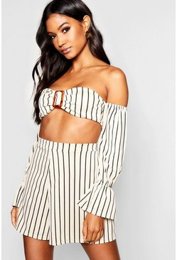 Womens Stone Buckle Detail Stripe Top + Short Co-Ord