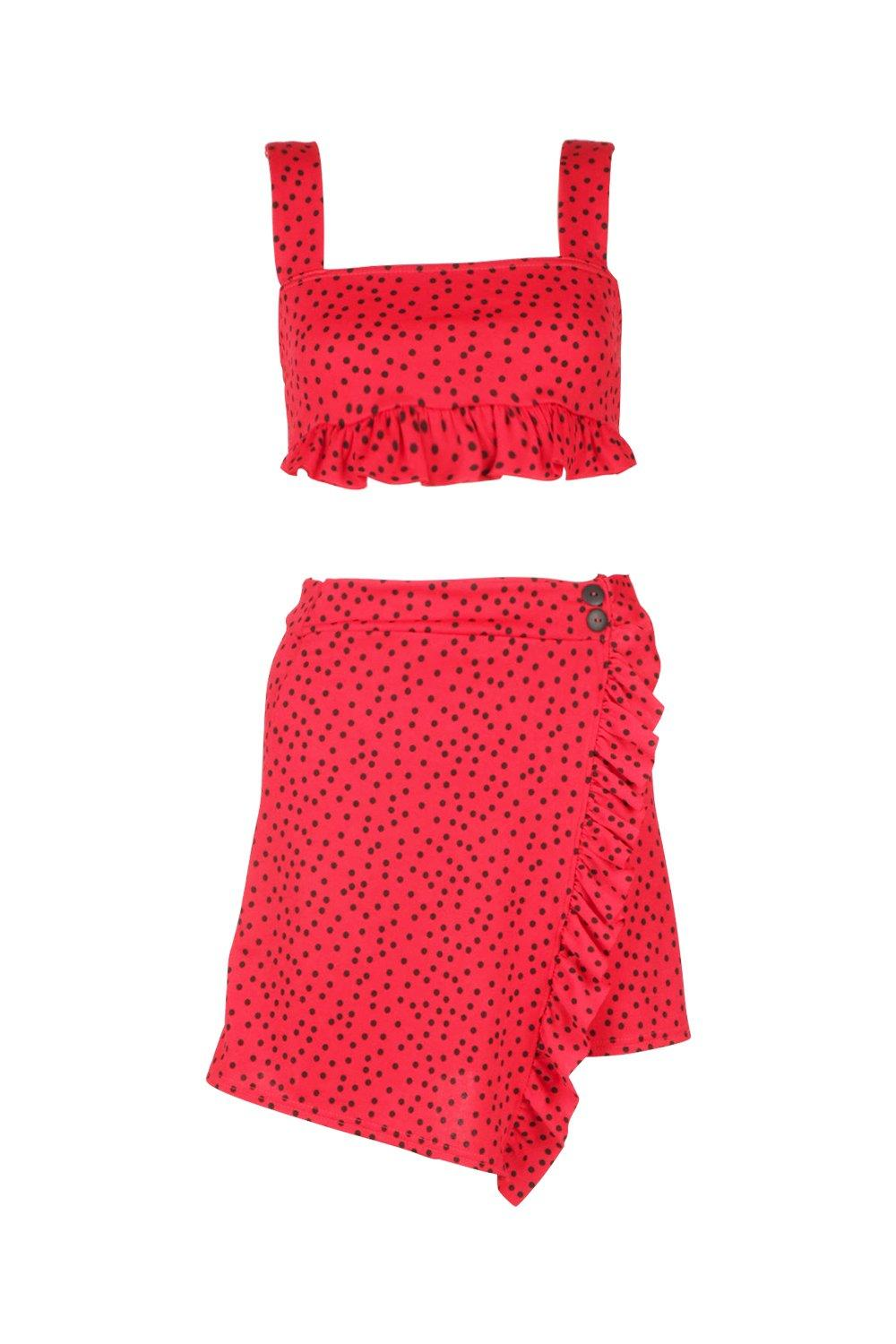Spot Co Skirt Ord Mini Detail Frill red Detail Button qF1Yw6