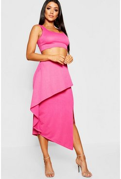 Womens Hot pink Asymetric Ruffle Skirt + Bralet Co-Ord
