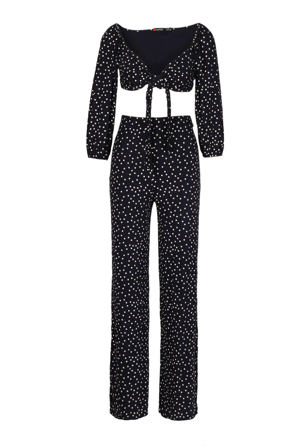 Tie Dot Top Polka Co Ord Wide navy Front Leg Trouser 747qwOr
