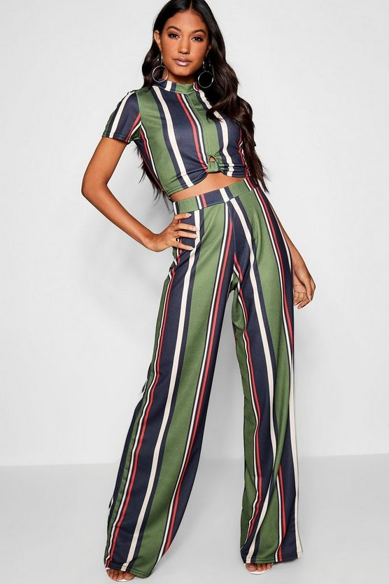 Twist Front Stripe Top + Trouser Co-Ord