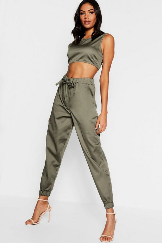 Womens Khaki Belted Combat Trouser + Top Co-Ord