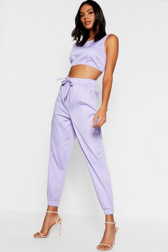 Womens Lilac Belted Combat Trouser + Top Co-Ord