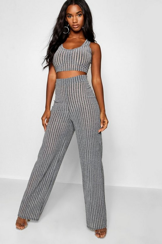 Womens Grey Sheer Metallic Rib Bralet + Wide Leg Trouser Co-Ord