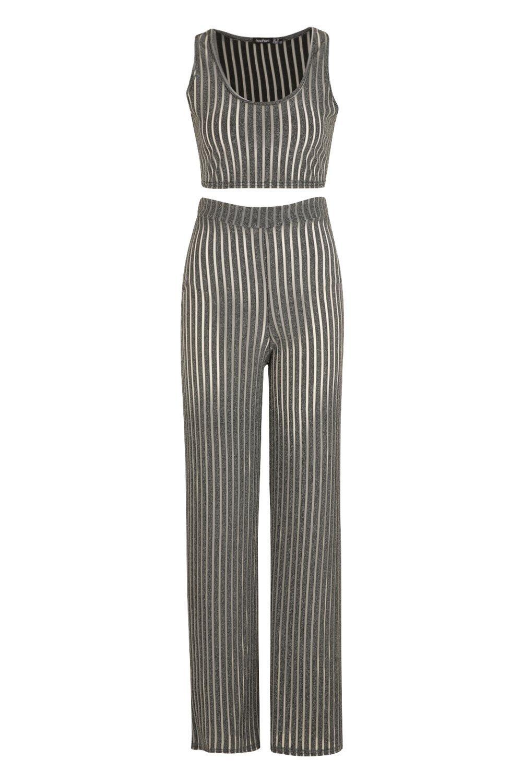 Ord Wide Sheer Rib Trouser Leg Metallic Bralet grey Co wH6aq0Ht