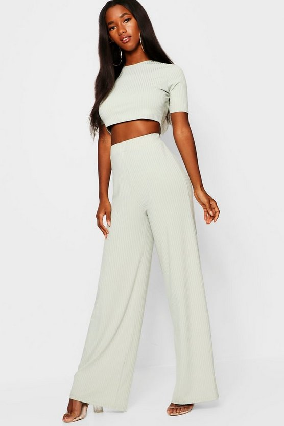 Rib Wide Leg Trouser + Top Co-Ord