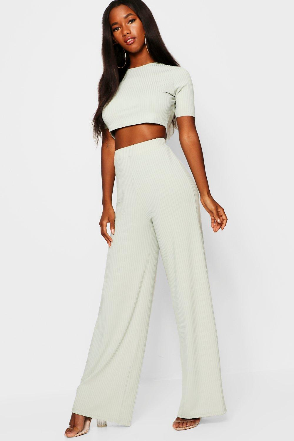 b64711237d2b4 Rib Wide Leg Trouser + Top Co-Ord. Hover to zoom
