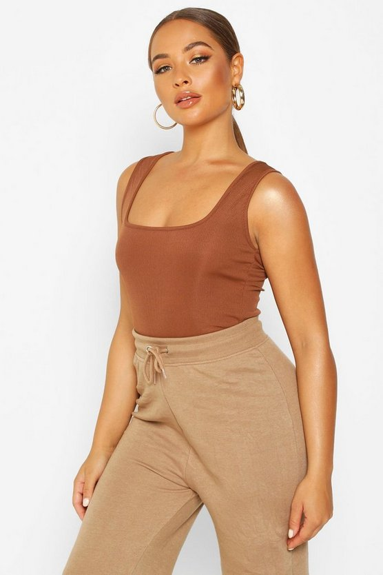 Chocolate Basic Rib Square Neck Cami