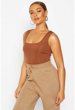 Womens Chocolate Basic Rib Square Neck Cami