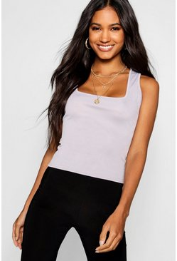 Grey marl Basic Rib Square Neck Cami