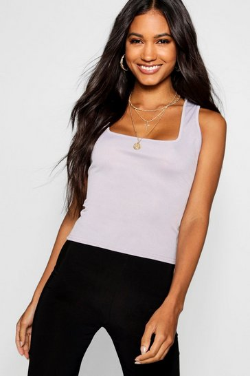 Womens Grey marl Basic Rib Square Neck Cami