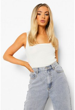White Basic Rib Square Neck Cami